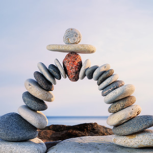 Perfect design of stack of arched river rocks