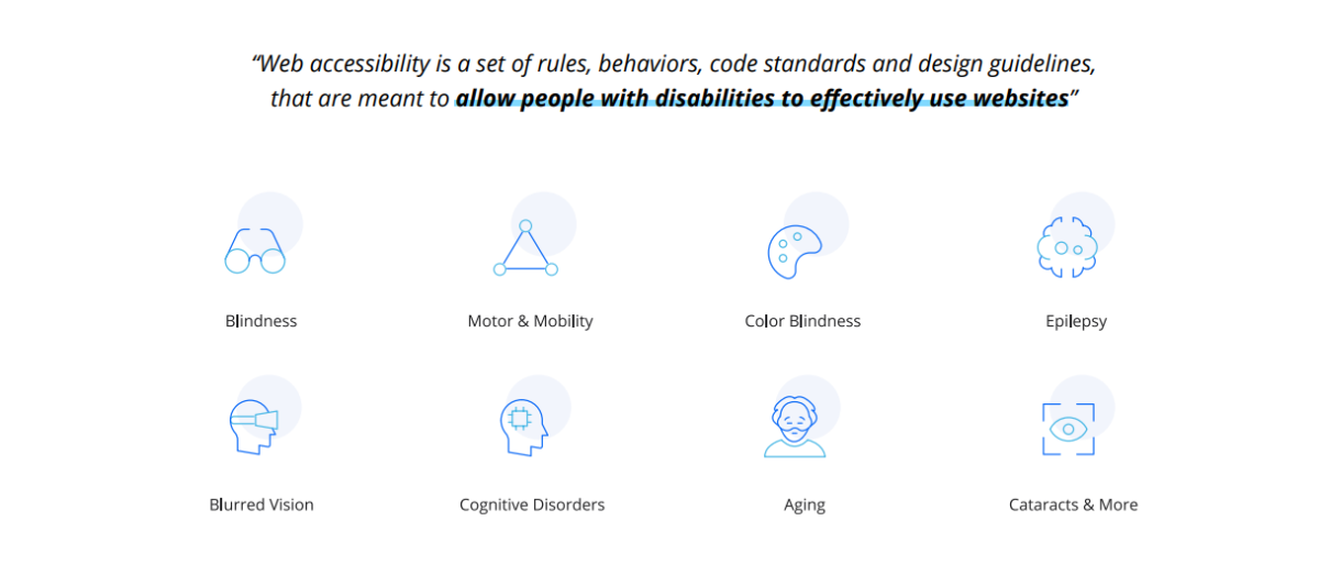 cessibe offers user profile individuals with blindness, blurred vision, cognitive disorders, motor and mobility issues, color blindness, aging, epilepsy, cataracts, and more.